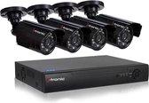 CCTV  camerasysteem 4 Camera's + DVR voor internet en telefoon