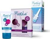 Merula menstruatie cup incl Merula lube + douche - galaxy paars