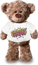 Beterschap mama pluche teddybeer knuffel 24 cm met wit pop art t-shirt -...