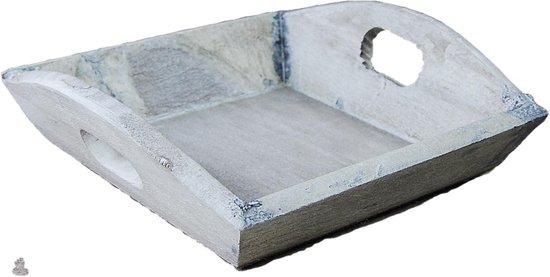 Tray hout PH design 19x19x4cm bruin/white wash 12 stuks