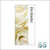 20 bedankt kaartjes - witte rozen - 10 x 5 cm