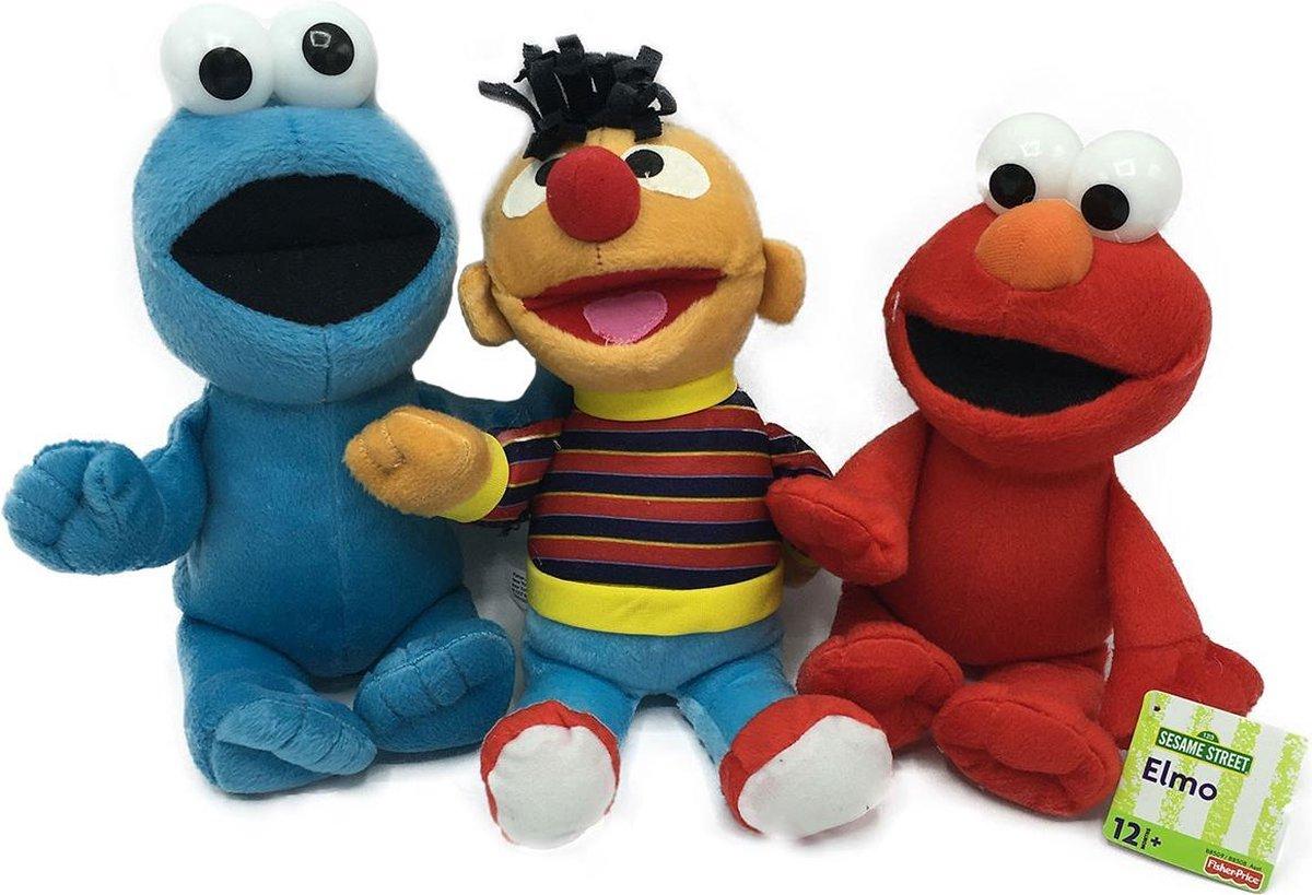 Aanbieding Sesamstraat Knuffel Elmo + Koekiemonster + Ernie