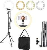 "Ringlamp 18"" PRO - Ring Of Light - Met Opbergtas - 27 cm/18 inch Selfie Licht Ring - Professionele LED Ringlamp Set -  Dimbaar 3200 Tot 5800K – Fotostudio En Beauty Light – Voor Camera En Smartphone - Led Ringlamp Voor  Streaming  / Youtube  - RL-18A"