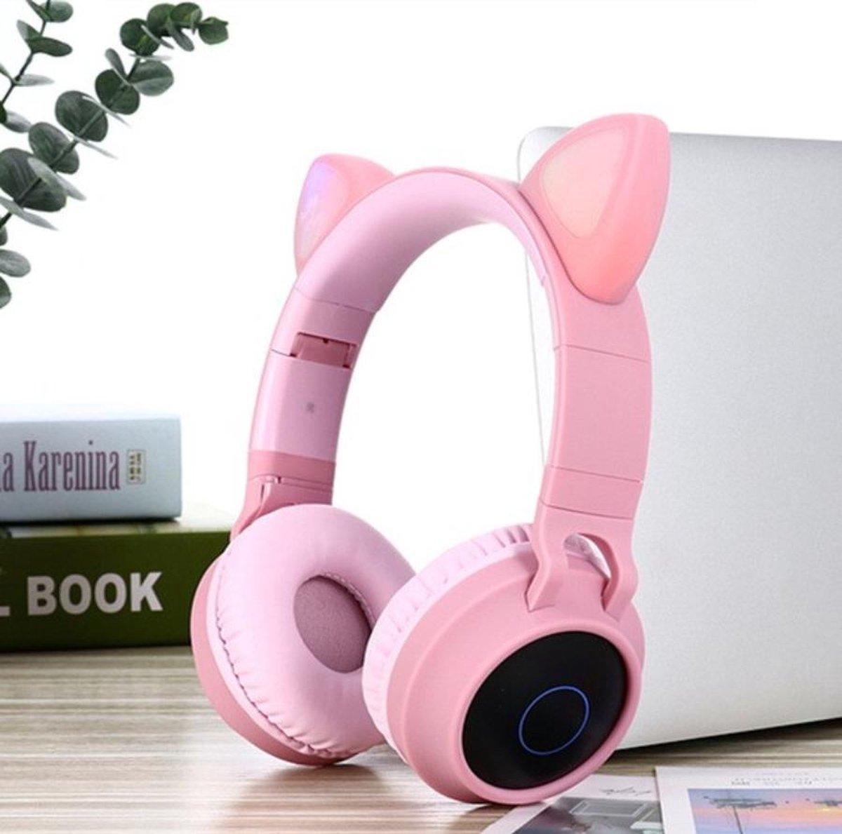 WiseGoods – Koptelefoon Kattenoortjes – Noise Canceling Hoofdtelefoon – Draadloos On Ear – Bluetooth V5.0 – Kinderen – Roze