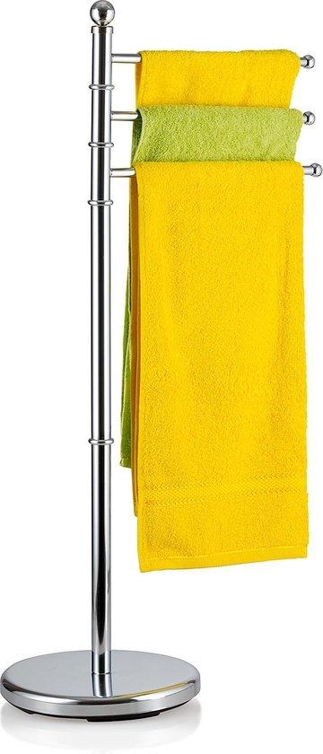 Staande Handdoekhouder Rek - Handdoek Houder Met 3 Draaibare Armen - Handdoekstang Standaard - Handdoekrek Stang - Glanzend Verchroomd RVS - Zilver - BREEZE