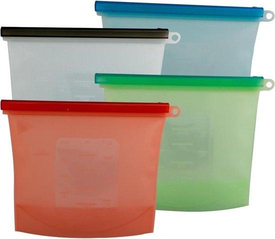 Siliconen Vershoudzakken -  Set 4-Stuks 1000ml - Duurzaam - Herbruikbaar - Vries & Hitte Bestendig - 4 Kleuren - Vershoud