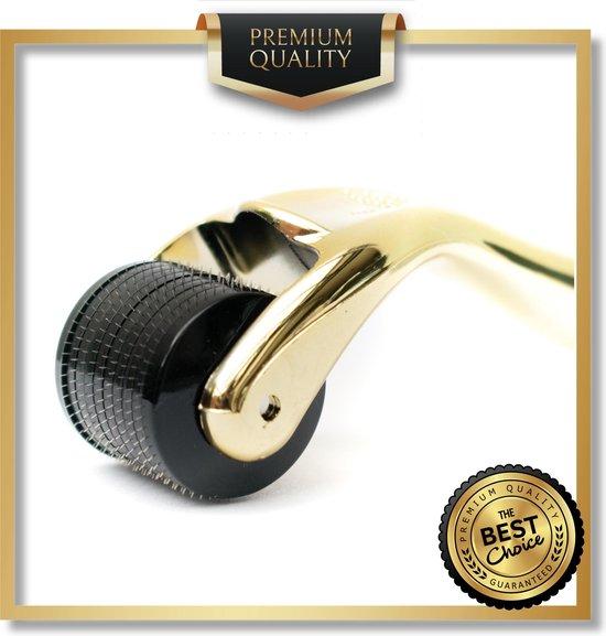 Titanium - 540 Micro-Needle 0.5mm DermaRoller | Skin Roller | Gezichts- en huidverzorging | Huidverjonging | Steriel verpakt | Gold Edition