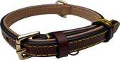 Brute Strength - Luxe leren halsband hond - Bruin - S - 41 x 1,5 cm - leren hals band
