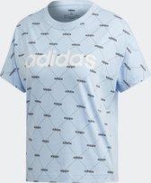adidas W Core Fav T Dames Sportshirt - Glow Blue/Black - Maat  XS
