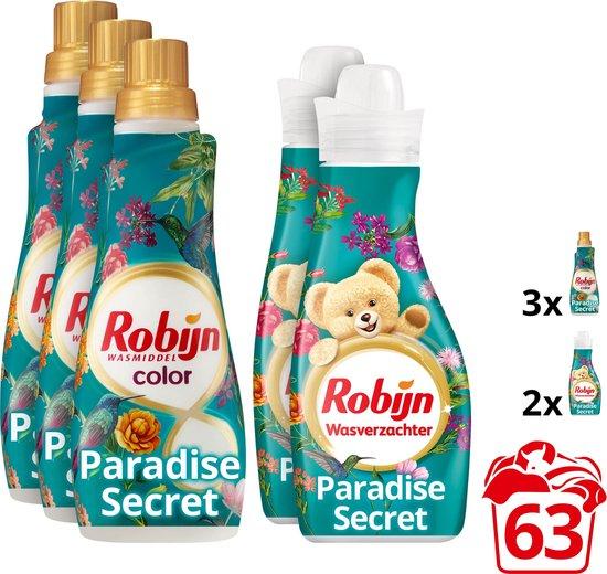 Robijn Wasmiddel Paradise Secret Pakket - Wasmiddel & Wasverzachter - 5 stuks