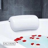 Salvano Badkussen met zuignappen-Spa kussen- kussen voor in bad- Hoofd steun-nekkussen-Ontspanning-Anti bacterie-waterdicht-wit-26x13x7