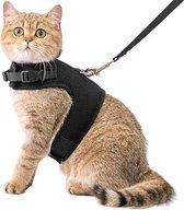 Kattenharnas met leiband - Kattentuigje - Zwart -