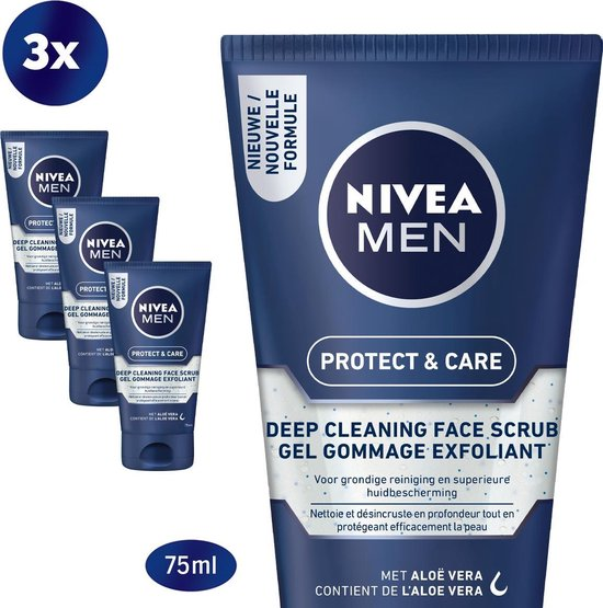 NIVEA MEN Protect & Care Deep Cleaning Face Scrub 3x75ml