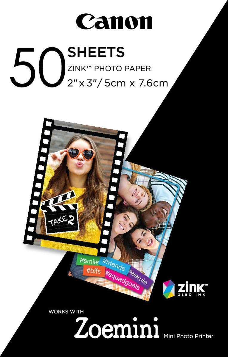 Canon ZINK Zelfklevend Fotopapier - Pak van 50 sheets