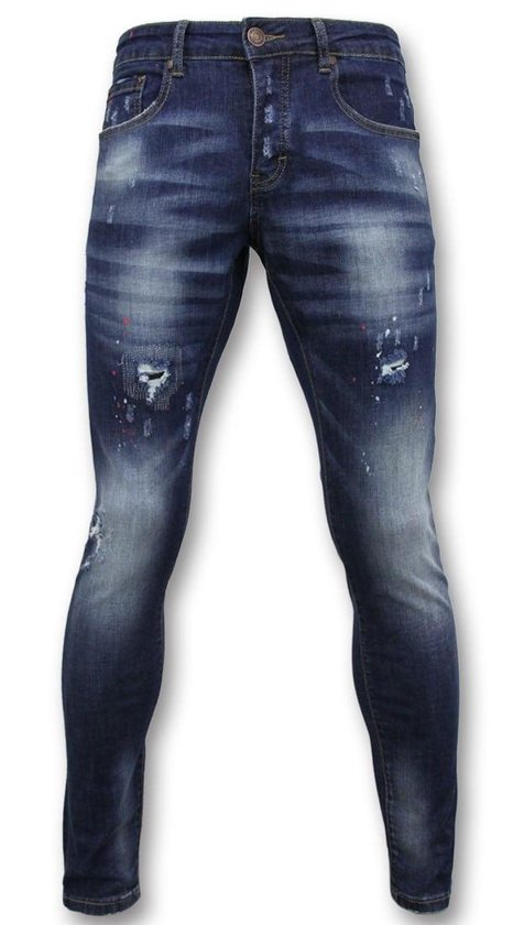 True Rise Basic Broek Heren - Jeans Verf D3065 Blauw W32