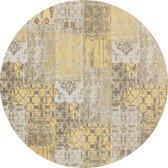 Vintage rond vloerkleed - Patchwork - Tapijten woonkamer - Melon Geel - 200cm ø
