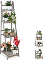 relaxdays plantenrek - hout - plantentrap - bloemenrek - bloementrap - etagère - grijs XL