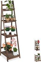 relaxdays plantenrek - hout - plantentrap - bloemenrek - bloementrap - etagère - bruin XL