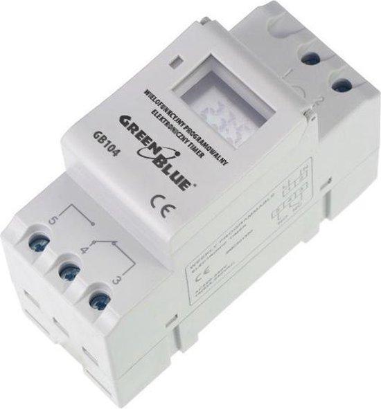 Digitale tijdschakelaar DIN rail 16A GreenBlue GB104