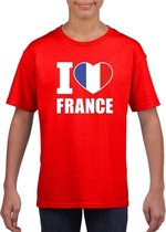 Rood I love Frankrijk fan shirt kinderen M (134-140)