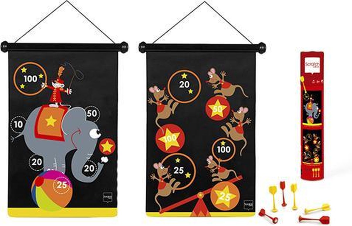 Scratch Spel - Darts Circus magnetisch - 36x70 cm - 2-zijdig bedrukt