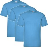 3 Pack Shirts Fruit of the Loom Ronde Hals Azure Blue Maat S Valueweight