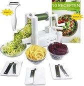 Buazelli Spiraalsnijder - met 3 Snijbladen, 10 Recepten en extra Dunschiller - incl. Gebruiksaanwijzing - groentesnijder, julienne en spiraal snijder voor groente