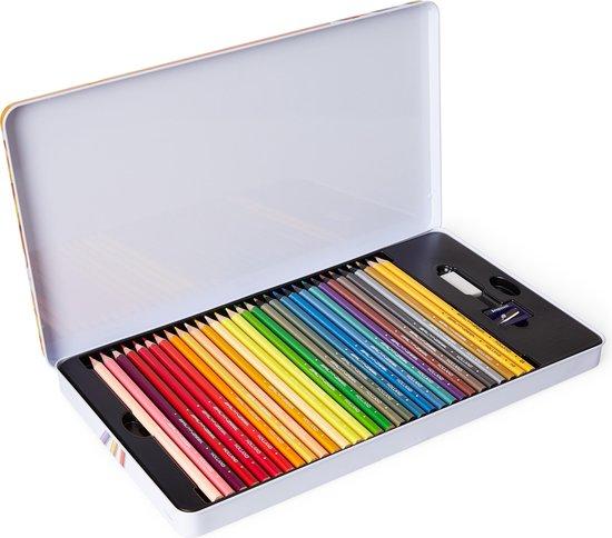 BRUYNZEEL Kleurblik Super Sixties Kever 60-delig met gum en slijper - Kleurpotloden