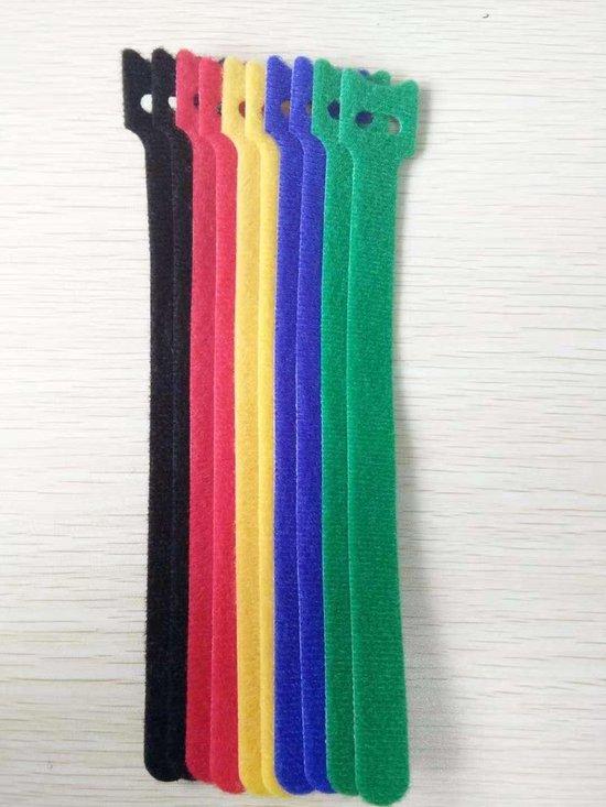 20 stuks Kabelbinders klittenband 12x200 mm Mix ( 5 kleuren)
