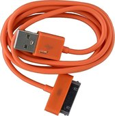 2 stuks - iPhone 4 USB oplaad kabel oranje | 1 METER kabeltje voor iPhone 4/4G/4S/3G/3GS/iPod 1/2/3