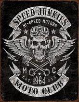 Signs-USA Speed Junkies - Skull - Motor club - retro wandbord - 40 x 30 cm