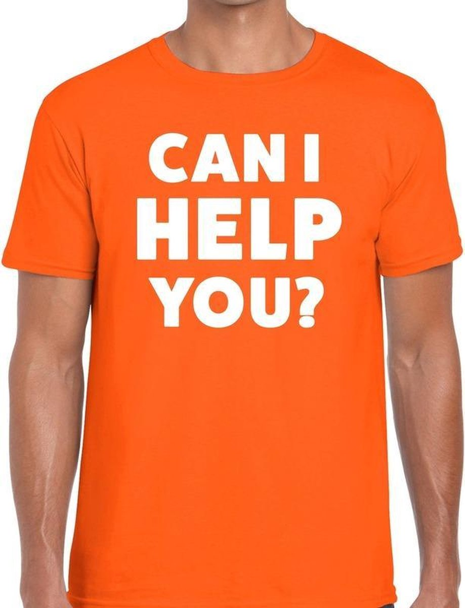Can i help you beurs/evenementen t-shirt oranje heren XL