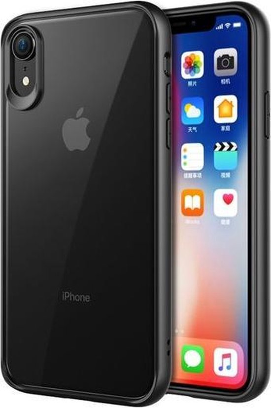 GadgetBay Doorzichtig Hoesje iPhone XR Transparant Case - Zwart