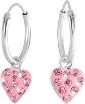 Little Miss Lovely - Zilveren oorbellen hart met light rose kristal