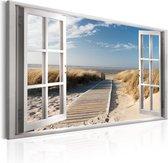 Schilderij - Door het raam, zicht op de Noordzee