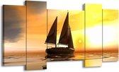 Canvas schilderij Zeilboot | Geel, Bruin, Wit | 120x65 5Luik