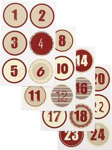 Kerstkalender cijfer stickers. d: 4 cm. 9x14 cm. 4 div vellen/ 1 doos