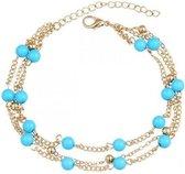 Joboly Beads enkelbandje - Dames - Goudkleurig - 20 cm