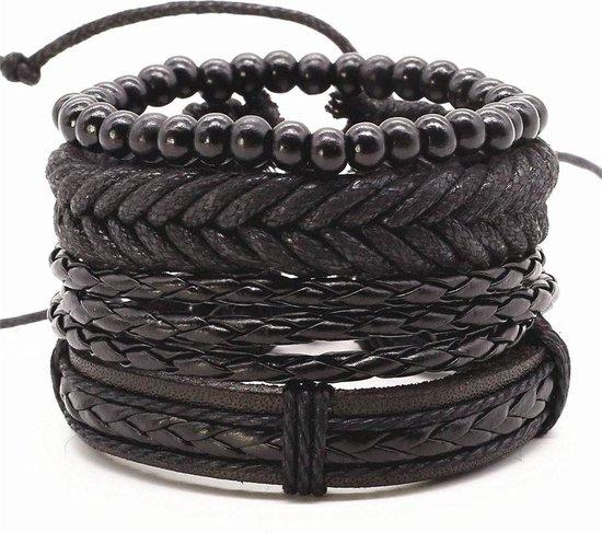 Joboly Stoere multilayer mannen / heren armband set gevlochten kralen - Heren - Zwart - 22 cm
