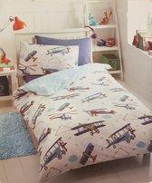Dekbedovertrek Vliegtuigen - Airplanes - Jongens Kinderdekbedovertrek - 1-Persoons - 140x200cm + 1 Kussensloop