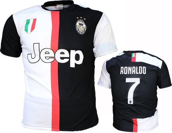 Juventus Replica Cristiano Ronaldo CR7 Thuis Voetbalshirt Seizoen 2019/2020 Zwart / Wit, Maat:  92