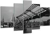 Glasschilderij Brug | Grijs, Zwart, Wit | 170x100cm 5Luik | Foto print op Glas |  F001766
