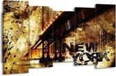 Canvas schilderij New York | Groen, Zwart, Bruin | 150x80cm 5Luik