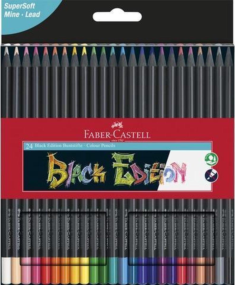 Kleurpotloden Faber-Castell Black Edition in kartonnen etui   24 stuks. FC-110024