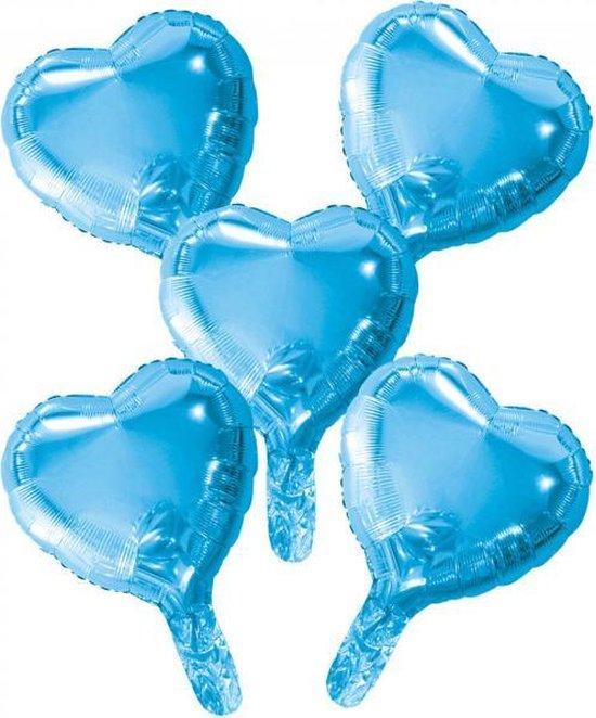 Wefiesta Folieballonnen Hartvorm 22 Cm Blauw 5 Stuks