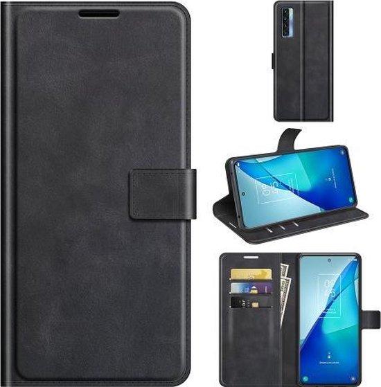 Voor TCL 20S/20 5G/20L/20L+ Retro Kalf Patroon Gesp Horizontale Flip Lederen Case met Houder & Kaartsleuven & Portemonnee (Zwart)