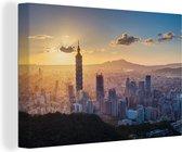 Stadsgezicht van Taipei met de beroemde Aziatische Taipei 101 Canvas 140x90 cm - Foto print op Canvas schilderij (Wanddecoratie woonkamer / slaapkamer)