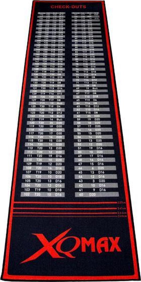 Xq Max Dartmat Check-out 285 X 80 Cm Zwart/rood