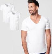 SKOT Fashion Duurzaam t-shirt heren Deep V-neck 2 pack - wit