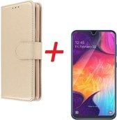 Samsung Galaxy A40 Telefoon Hoesje met pasjeshouder Goud met Glazen screenprotector - van Bixb